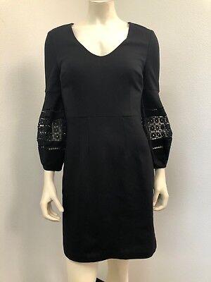 Trina Turk Size 2 Gianna Dress Black Cocktail V Neck Crochet Trim NWT