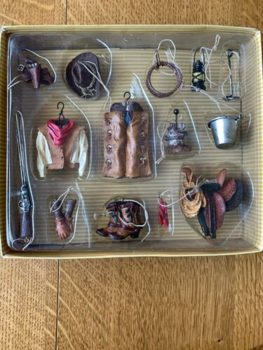 Country Western Cowboy Wild West Christmas Ornaments Boots Hat Saddle Lasso NIB