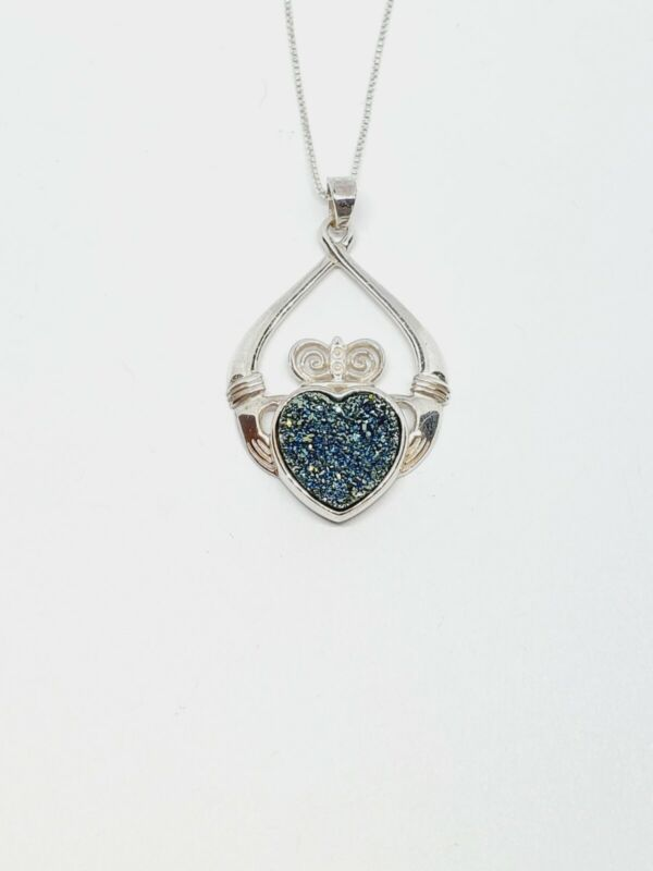JMH Ireland 925 Sterling Silver Druzy Claddagh Pendant Hands Heart Crown