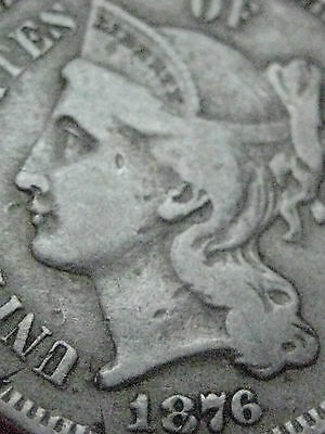 1876 THREE 3 CENT NICKEL-  KEY DATE- FINE DETAILS