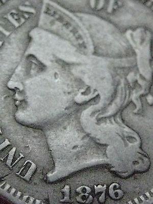 1876 THREE 3 CENT NICKEL-  KEY DATE- FINE DETAILS
