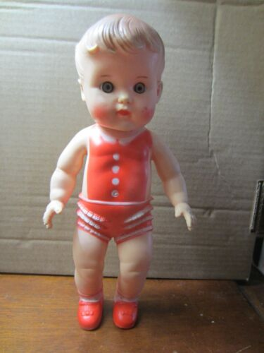 """1956 The Sun Rubber Co. Squeaky Toy- 10"""" Doll (Red Outfit)"""