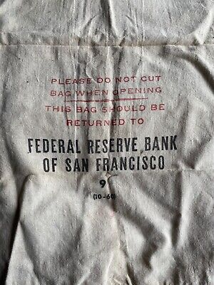 Lot of 4 Vintage Canvas Cloth Bank Bags, Federal Reserve San Francisco/B. of A.