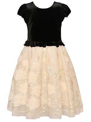 Bonnie Jean Little Girls Black Velvet Ivory Floral Overlay Christmas Dress 3T