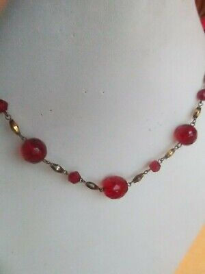 1930s Art Deco Style Jewelry 1930s RED FACETED CRYSTAL NECKLACE  18