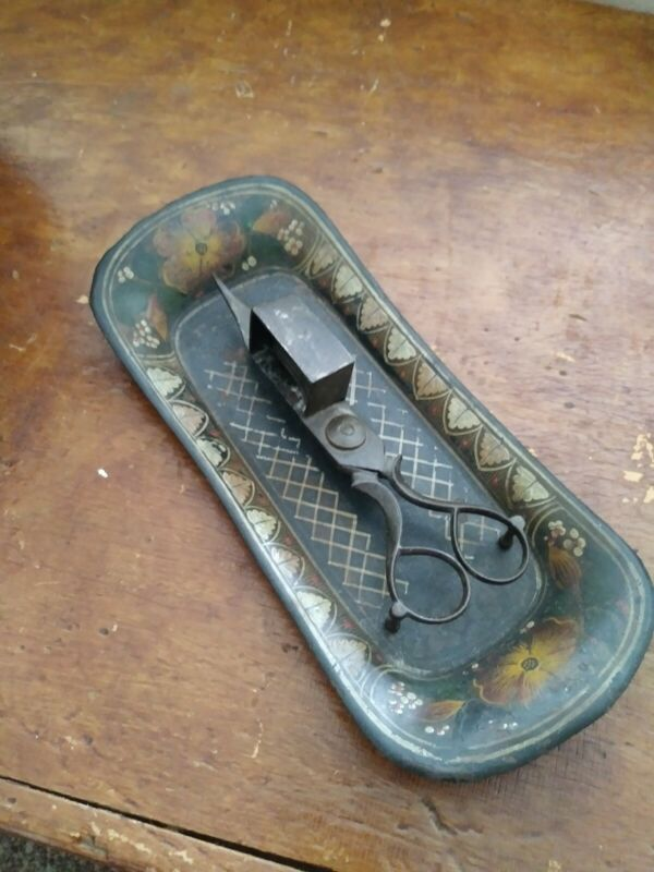 19th Century Metal Scissor Style Snuffer w/ Tole Paint Decorated Tin Tray