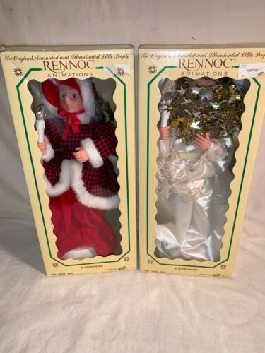 Lot 2 vintage RENNOC Animated Musical CHRISTMAS CAROLER + ANGEL + boxes PARTS