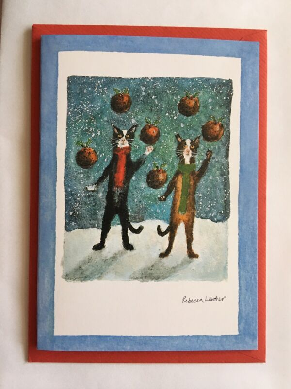 Rebecca Lardner Holiday Greeting Cards Jugglers Cats Lot Of 9 NEW