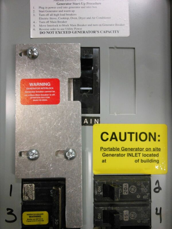 GE-200VL General Electric Generator interlock kit Vertical throw Main 200 amp