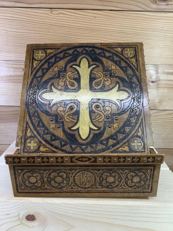 Vtg Bible Stand Tabletop Cross Wooden Metal Studs Holder Crux Immissa Quadrara