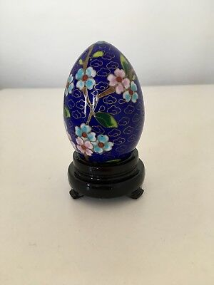 Vintage Cloisonné Dark Blue Enamel Egg With Stand And Original Box