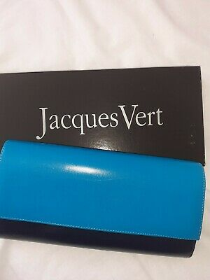 Turquoise/Navy Clutch,Shoulder Bag By Jacques Vert.Perfect Cond.Matching Shoes &