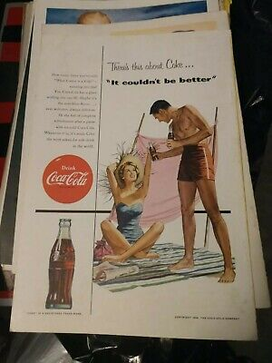 1954 VTG Coke Coca Cola Soda Magazine Ad It Couldn't Be Better Picnic Swimsuits