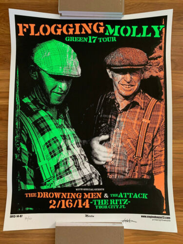 Flogging Molly Concert Poster ~ Green 17 Tour Promo Limited Numbered ~ Ritz Ybor