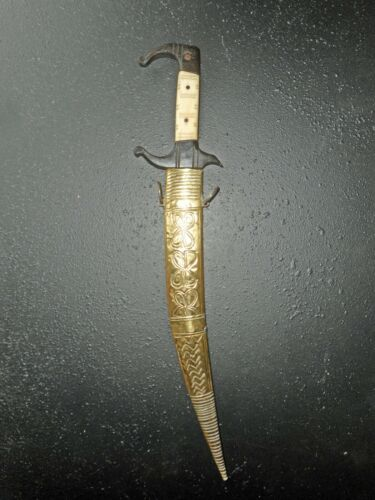 OLD TRADITIONAL TUNISIAN DAGGER (14,8),  ENGRAVED BLAD IN ARABIC, for collection