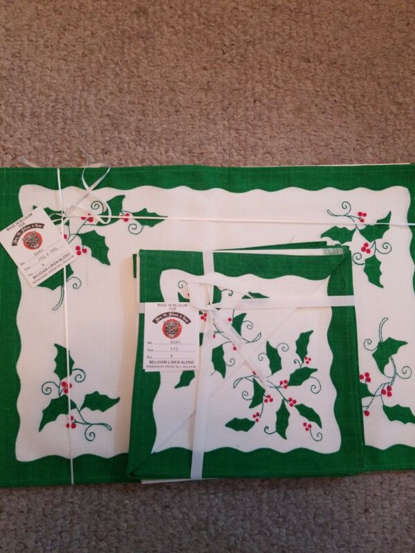 Vtg Jabara Belgian Linen Placemats Napkins Victorian Holly Never Used W/ Tags