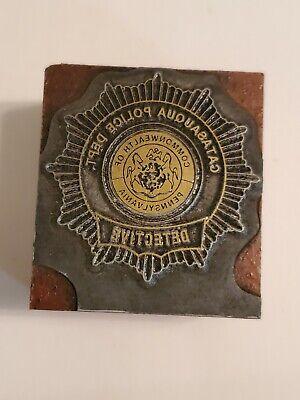 Letterpress Printing Press Block Rare Catasauqua Detective Shield Seal