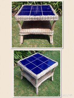 Cane coffee table with tiled top Gwelup Stirling Area Preview