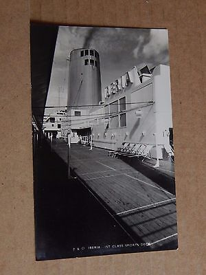 Postcard shipping P & O Liner Iberia 1st Class Sports Deck  Real Photo unposted