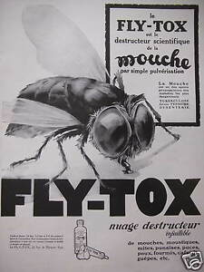 publicit fly tox est le destructeur scientifique de la mouche par pulv risation ebay. Black Bedroom Furniture Sets. Home Design Ideas