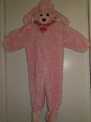 MINIWEAR Pink Poodle puppy One Piece Baby Halloween Costume sleeper 12 Mo EUC! - Baby Poodle Costume