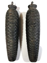 Pair 2 Antique Vintage Cuckoo Clock Weights 2 lb 1oz Cast Iron Pine Cone Parts