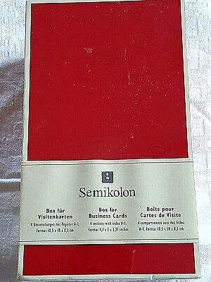 Semikolon Business Card File Box 4 Sections Dividers With Index A-z Red New