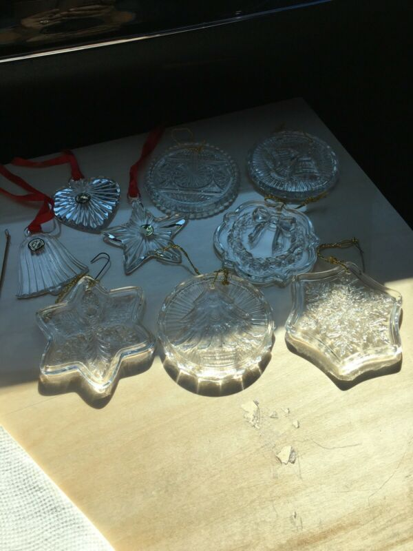 Vintage FOSTORIA Clear Crystal Glass CHRISTMAS TREE ORNAMENTS 9 Pieces