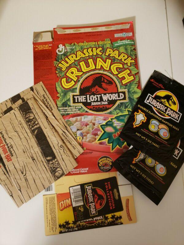 VINTAGE JURASSIC PARK PROMOTIONAL PACKAGING LOT CEREAL COOKIE BOX MCDONALDS 1992