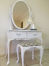 Stunning Queen Anne duchess, mirror and stool dresser French Linen Cashmere Pine Rivers Area Preview