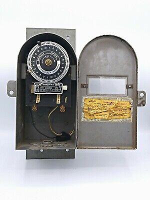 Vintage Tork Clock Mechanical Timer 115v Metal Coffin Style