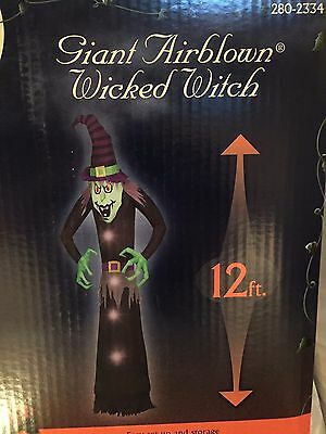 Last Gemmy Halloween 12' Lighted Wicked Witch Airblown/inflatable Decoration