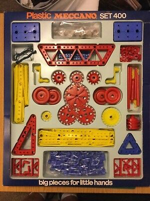 VINTAGE  PLASTIC MECCANO SET 400  1970s  RARE Almost complete with instructions