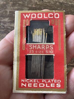 Vintage Woolco Nickel Plated Sewing Needles Sizes 5/10 Art Deco Advertising