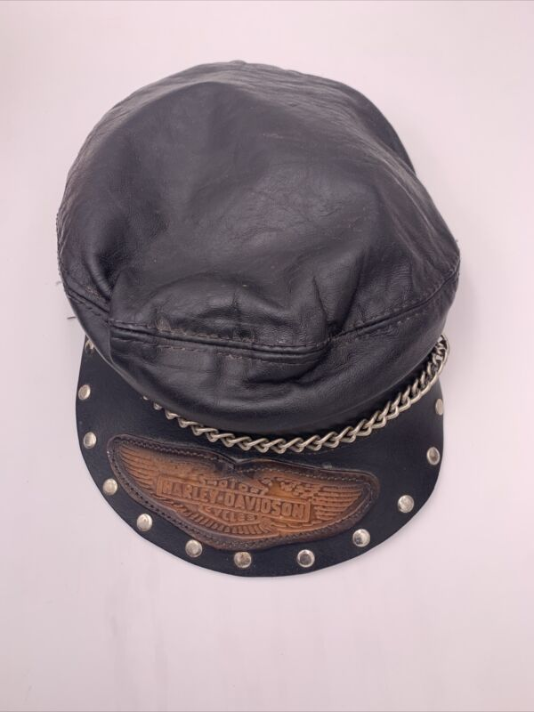 Vintage harley-davidson Leather Hat With Chain Beret