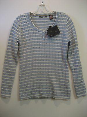 Liz Claiborne Light Blue   White Striped Sweater  Ladies Size Medium New W Tags