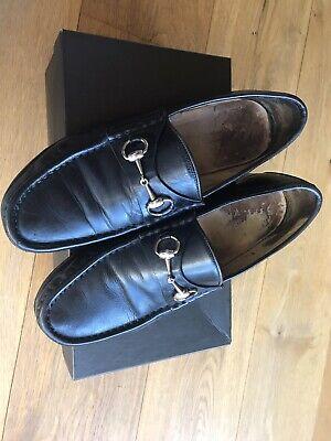 Gucci men shoes black horsebit loafers UK 10 - 10.5