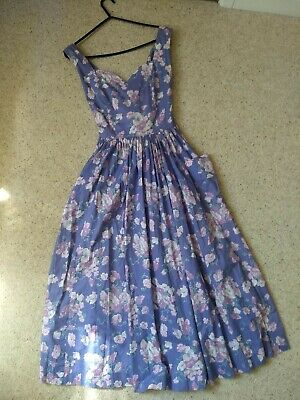 Vintage Laura Ashley Purple Floral Midi Dress 12