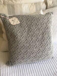 House Of Fraser Shabby Chic Grey Diamond Brocade Cushions X 2. New.
