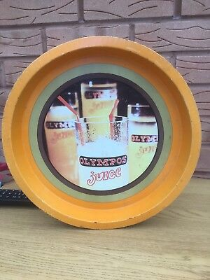 VINTAGE 60s /70 OLYMPOS JUICE  BEER METAL DRINKS TRAY