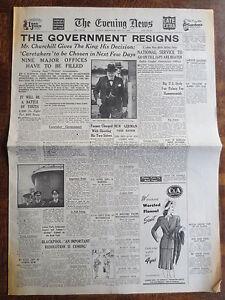 WW2 Newspaper May 23 1945 Winston Churchill Resigns EVENING NEWS War Wartime