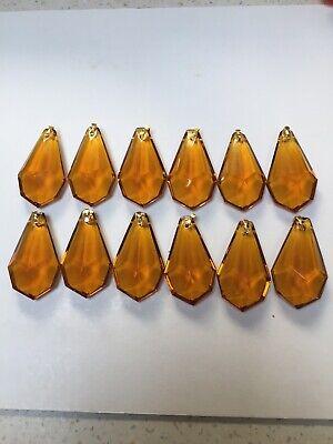Vintage Chandelier Crystals, Colour Amber