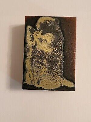 Letterpress Printing Press Block Beaver Wildlife Nature