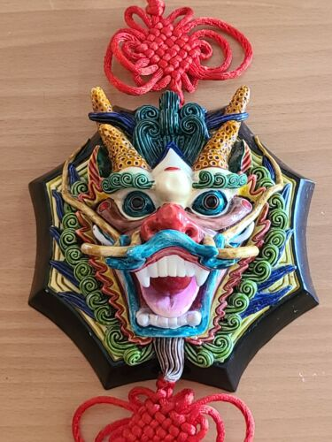Chinese Dragon mask wall hang decor 3D face lucky red knot tassels fire pearl