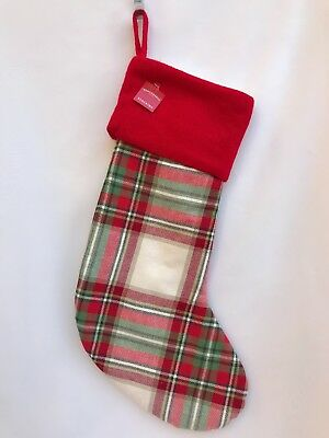 "Plaid Christmas Stocking ( HOLIDAY STOCKING PLAID W/CUFF 18"" CHRISTMAS DECOR Wondershop)"