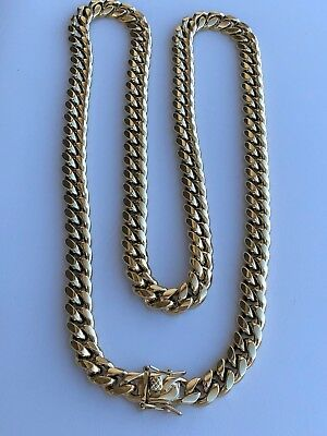10mm Mens Cuban Miami Link Chain 14k Gold Plated Stainless Steel 160 Grams HEAVY