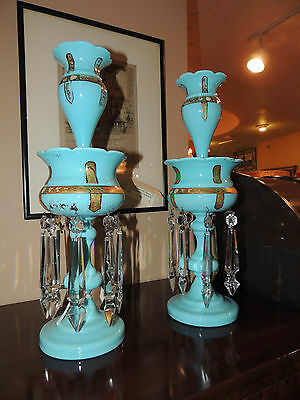 RARE Guilded Glass Candle holder LUSTERS with Crystals & Gems Removable Tops!