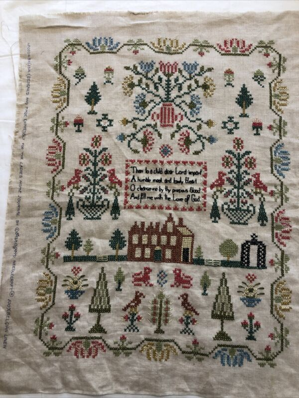 Vintage Completed Cross Stich Sampler Linen Primitive Picture Paragon