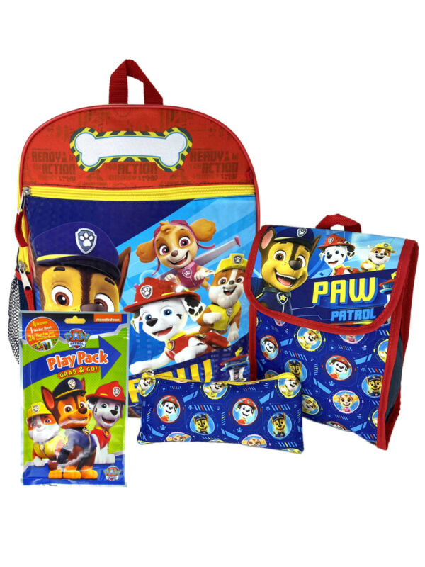 "Boys Paw Patrol 15"" Backpack Lunch Bag Pencil Pouch w/ Grab-N-Go Play Pack"