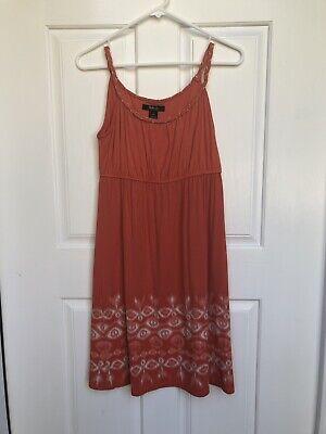 - NWT $49 Style&co Batik Orange Spaghetti Strap Empire Waist Dress Size: PS